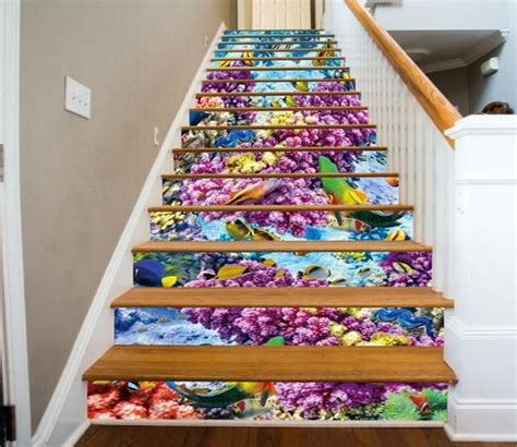 3D Colorful Seabed 784 Stair Risers | Stair risers, Stairs