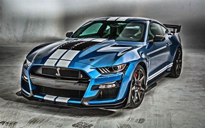 Download wallpapers 2020, Mustang Shelby GT500, blue
